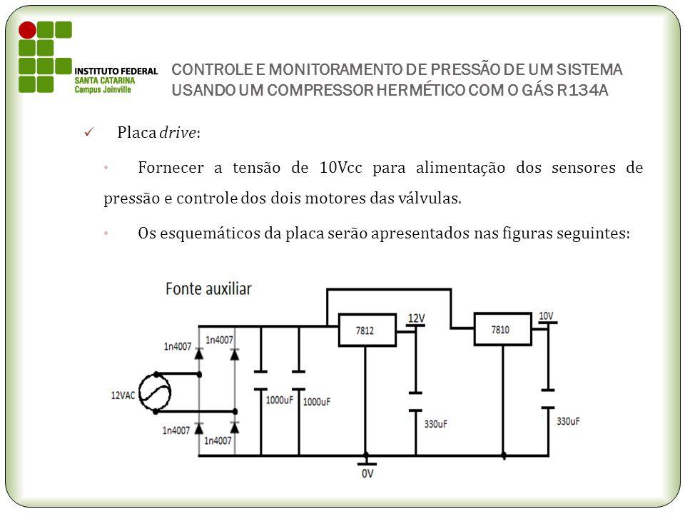 CONTROLE E MONITORAMENTO DE PRESSÃO DE UM SISTEMA USANDO UM COMPRESSOR HERMÉTICO COM O GÁS R134A Placa drive: Fornecer a tensão de 10Vcc para alimenta
