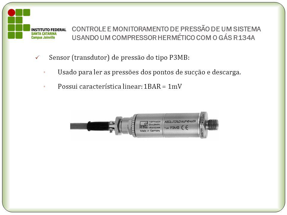 CONTROLE E MONITORAMENTO DE PRESSÃO DE UM SISTEMA USANDO UM COMPRESSOR HERMÉTICO COM O GÁS R134A Sensor (transdutor) de pressão do tipo P3MB: Usado pa