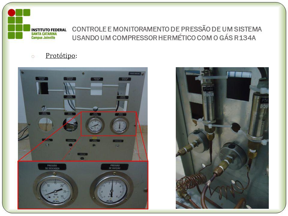 CONTROLE E MONITORAMENTO DE PRESSÃO DE UM SISTEMA USANDO UM COMPRESSOR HERMÉTICO COM O GÁS R134A o Protótipo: