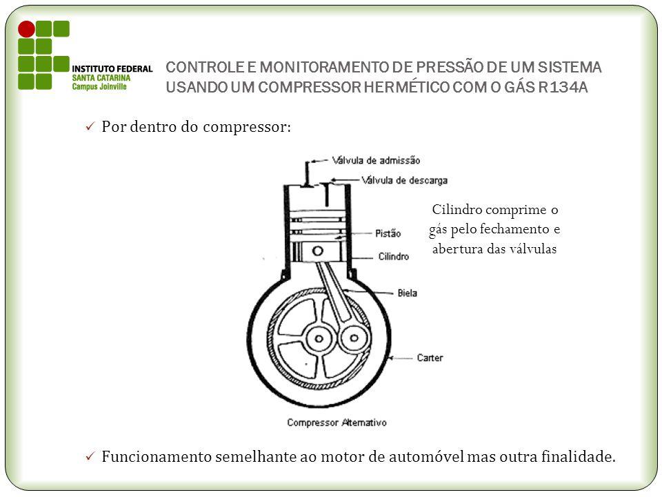 CONTROLE E MONITORAMENTO DE PRESSÃO DE UM SISTEMA USANDO UM COMPRESSOR HERMÉTICO COM O GÁS R134A Por dentro do compressor: Funcionamento semelhante ao