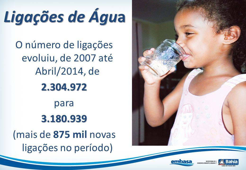 O número de ligações evoluiu, de 2007 até Abril/2014, de2.304.972 para3.180.939 (mais de 875 mil novas ligações no período) Ligações de Água