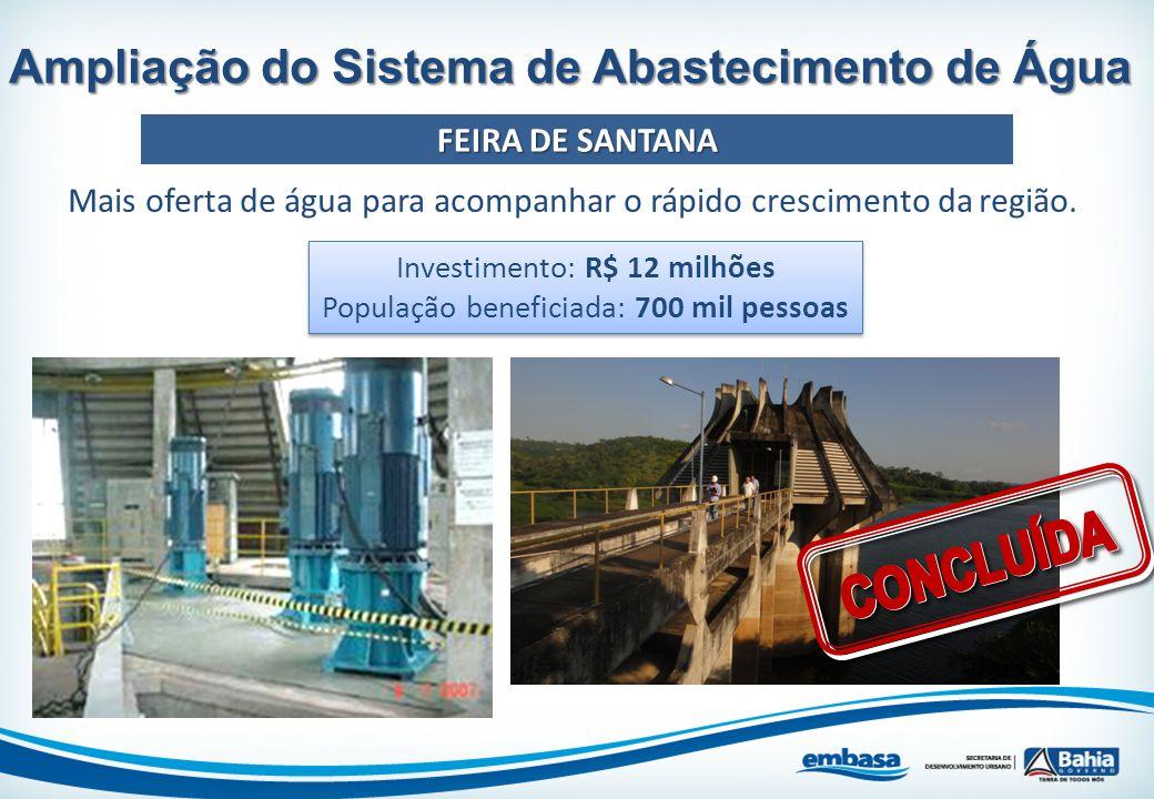 Mais oferta de água para acompanhar o rápido crescimento da região. Ampliação do Sistema de Abastecimento de Água FEIRA DE SANTANA Investimento: R$ 12