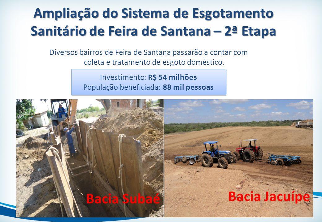 Ampliação do Sistema de Esgotamento Sanitário de Feira de Santana – 2ª Etapa Diversos bairros de Feira de Santana passarão a contar com coleta e trata