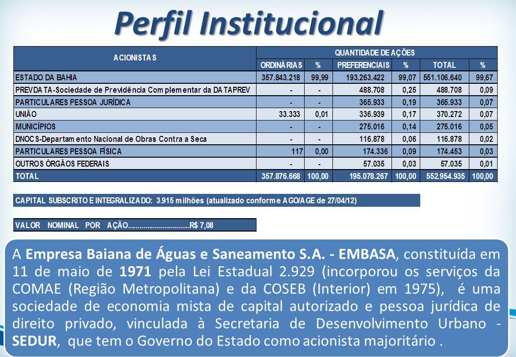 Perfil Institucional A Empresa Baiana de Águas e Saneamento S.A. - EMBASA, constituída em 11 de maio de 1971 pela Lei Estadual 2.929 (incorporou os se