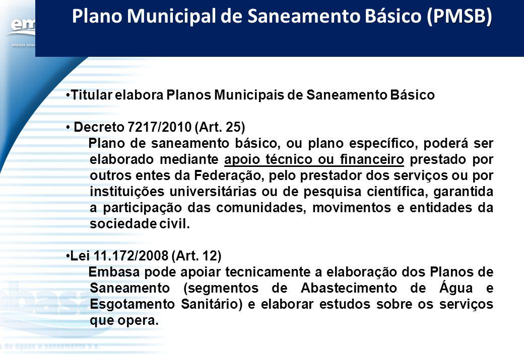 PMSB) Plano Municipal de Saneamento Básico (PMSB) Titular elabora Planos Municipais de Saneamento Básico Decreto 7217/2010 (Art. 25) Plano de saneamen