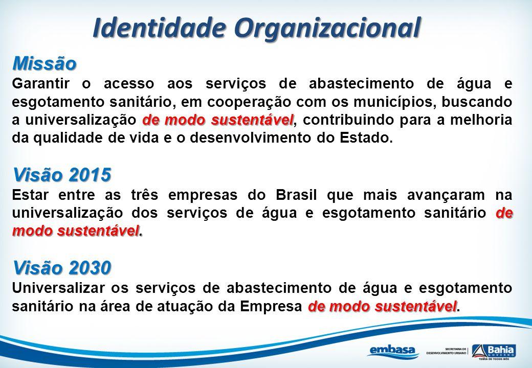 Identidade Organizacional Missão de modo sustentável Garantir o acesso aos serviços de abastecimento de água e esgotamento sanitário, em cooperação co