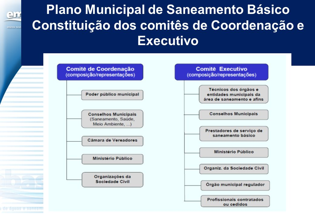 Plano Municipal de Saneamento Básico Constituição dos comitês de Coordenação e Executivo