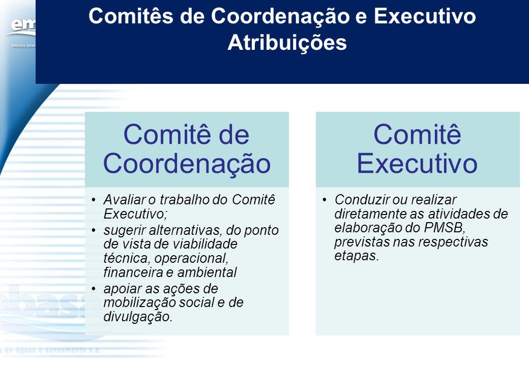 Comitês de Coordenação e Executivo Atribuições Comitê de Coordenação Avaliar o trabalho do Comitê Executivo; sugerir alternativas, do ponto de vista d