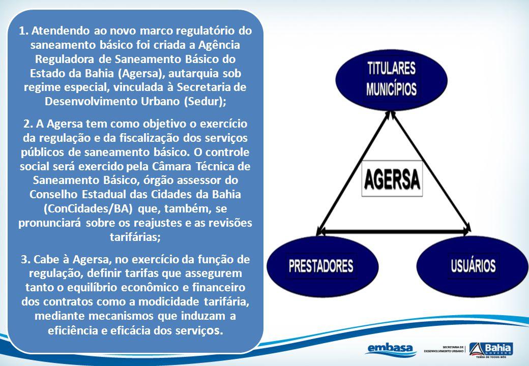 1. Atendendo ao novo marco regulatório do saneamento básico foi criada a Agência Reguladora de Saneamento Básico do Estado da Bahia (Agersa), autarqui