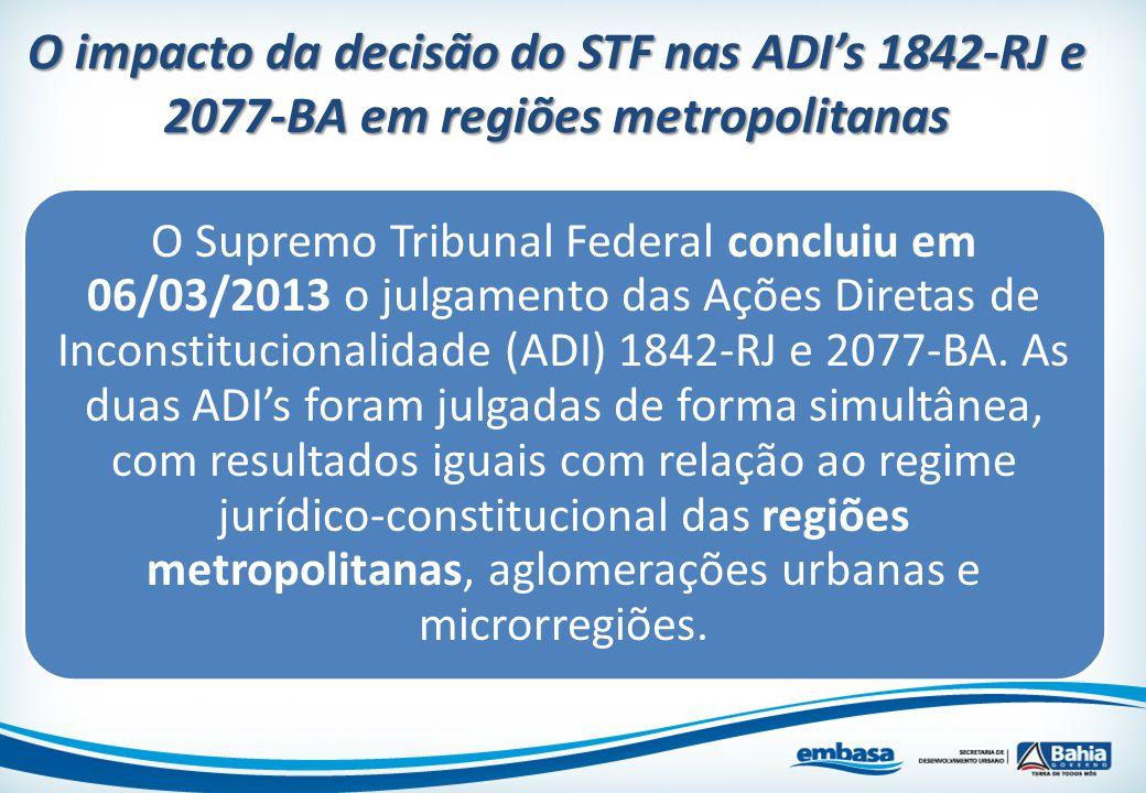 O impacto da decisão do STF nas ADI's 1842-RJ e 2077-BA em regiões metropolitanas O Supremo Tribunal Federal concluiu em 06/03/2013 o julgamento das A