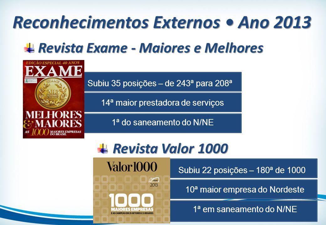 Subiu 35 posições – de 243ª para 208ª 14ª maior prestadora de serviços 1ª do saneamento do N/NE Revista Exame - Maiores e Melhores Revista Exame - Mai