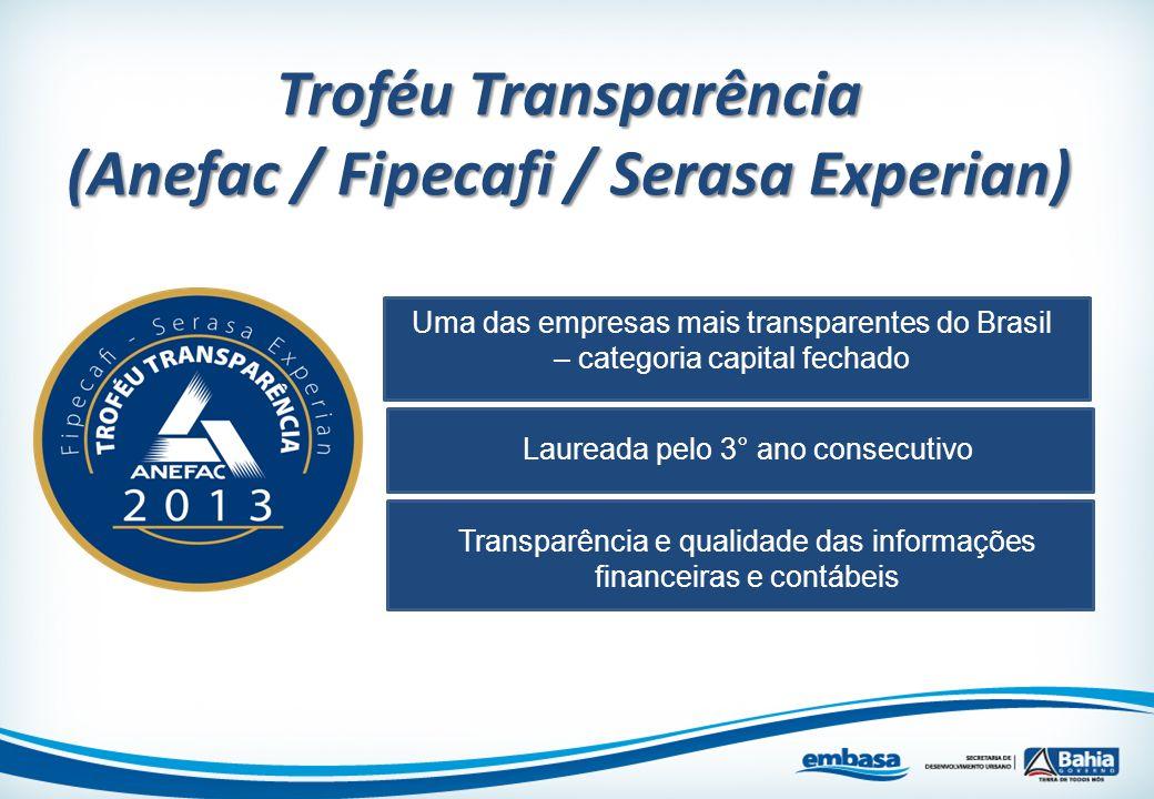 Troféu Transparência (Anefac / Fipecafi / Serasa Experian) Uma das empresas mais transparentes do Brasil – categoria capital fechado Laureada pelo 3°