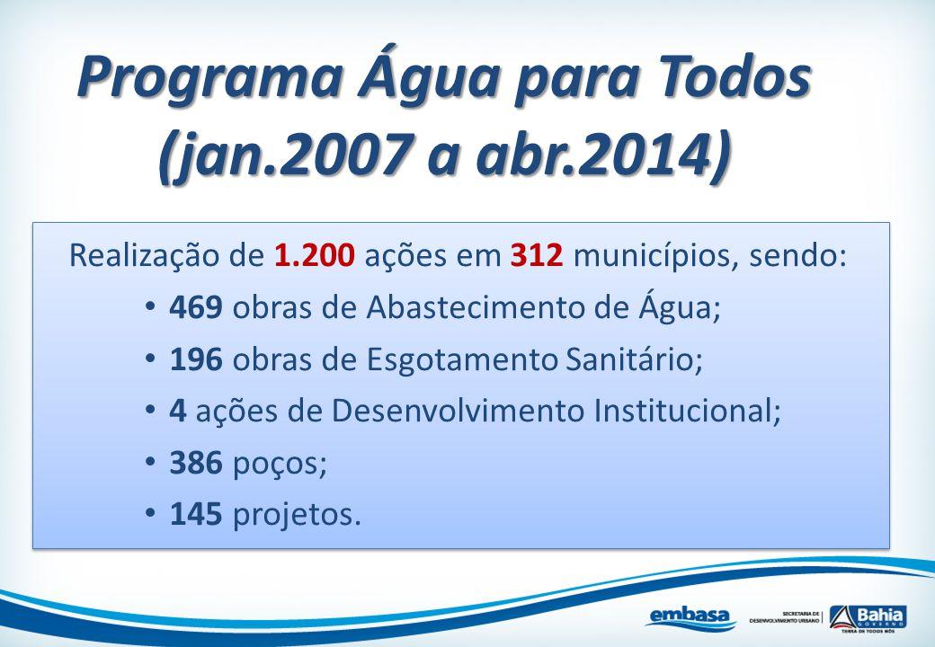 Programa Água para Todos (jan.2007 a abr.2014) Realização de 1.200 ações em 312 municípios, sendo: 469 obras de Abastecimento de Água; 196 obras de Es