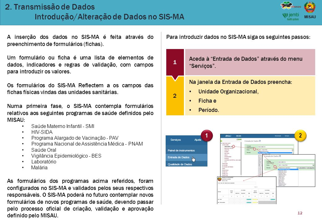 12 MISAU 2. Transmissão de Dados Introdução/Alteração de Dados no SIS-MA 1 1 2 2 A inserção dos dados no SIS-MA é feita através do preenchimento de fo