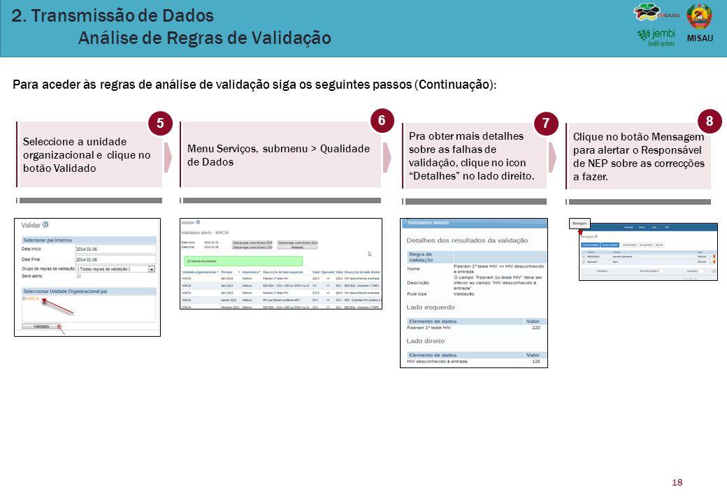 18 MISAU 2. Transmissão de Dados Análise de Regras de Validação Para aceder às regras de análise de validação siga os seguintes passos (Continuação):