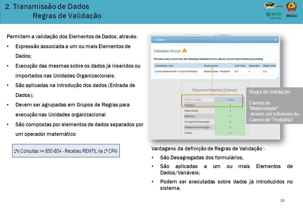 19 MISAU 2. Transmissão de Dados Regras de Validação Permitem a validação dos Elementos de Dados, através: Expressão associada a um ou mais Elementos