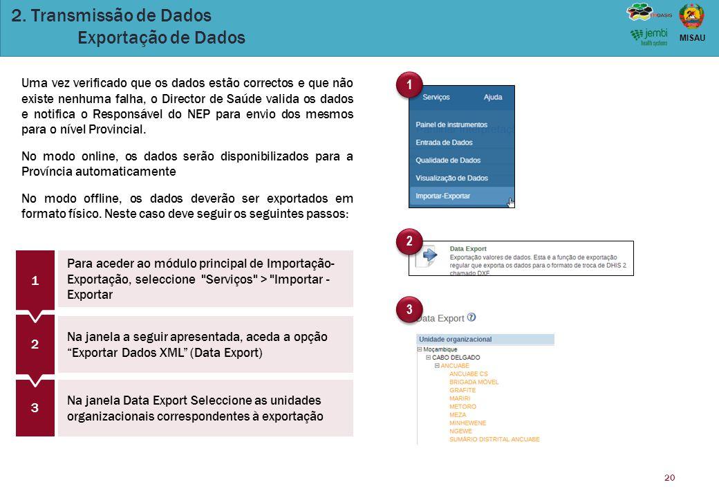 20 MISAU 2. Transmissão de Dados Exportação de Dados 1 1 2 2 3 3 3 Para aceder ao módulo principal de Importação- Exportação, seleccione