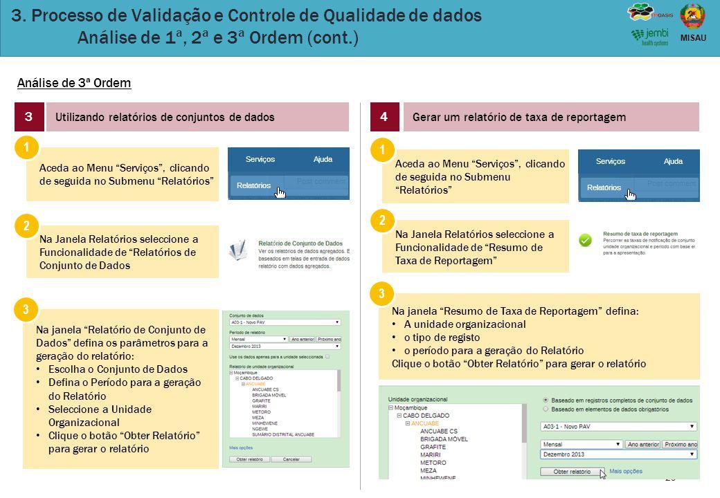 29 MISAU 3. Processo de Validação e Controle de Qualidade de dados Análise de 1ª, 2ª e 3ª Ordem (cont.) Análise de 3ª Ordem 3 Utilizando relatórios de