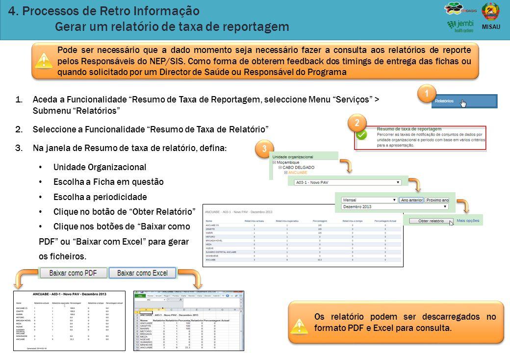 """39 MISAU 4. Processos de Retro Informação Gerar um relatório de taxa de reportagem 1.Aceda a Funcionalidade """"Resumo de Taxa de Reportagem, seleccione"""
