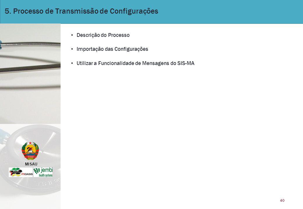 MISAU 40 5. Processo de Transmissão de Configurações Descrição do Processo Importação das Configurações Utilizar a Funcionalidade de Mensagens do SIS-