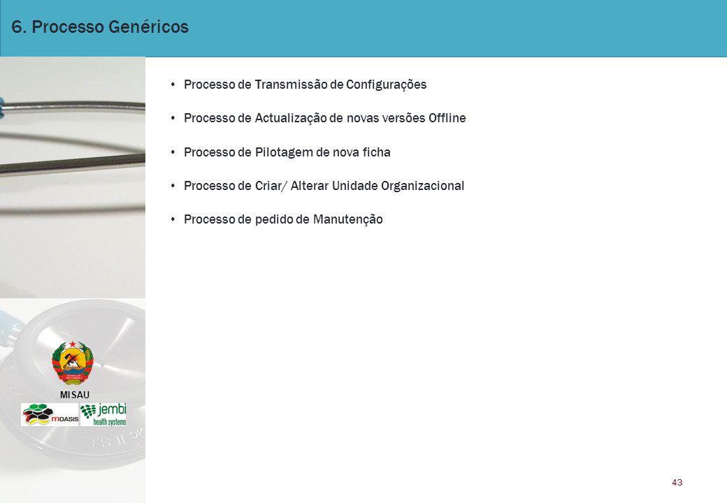 MISAU 43 6. Processo Genéricos Processo de Transmissão de Configurações Processo de Actualização de novas versões Offline Processo de Pilotagem de nov
