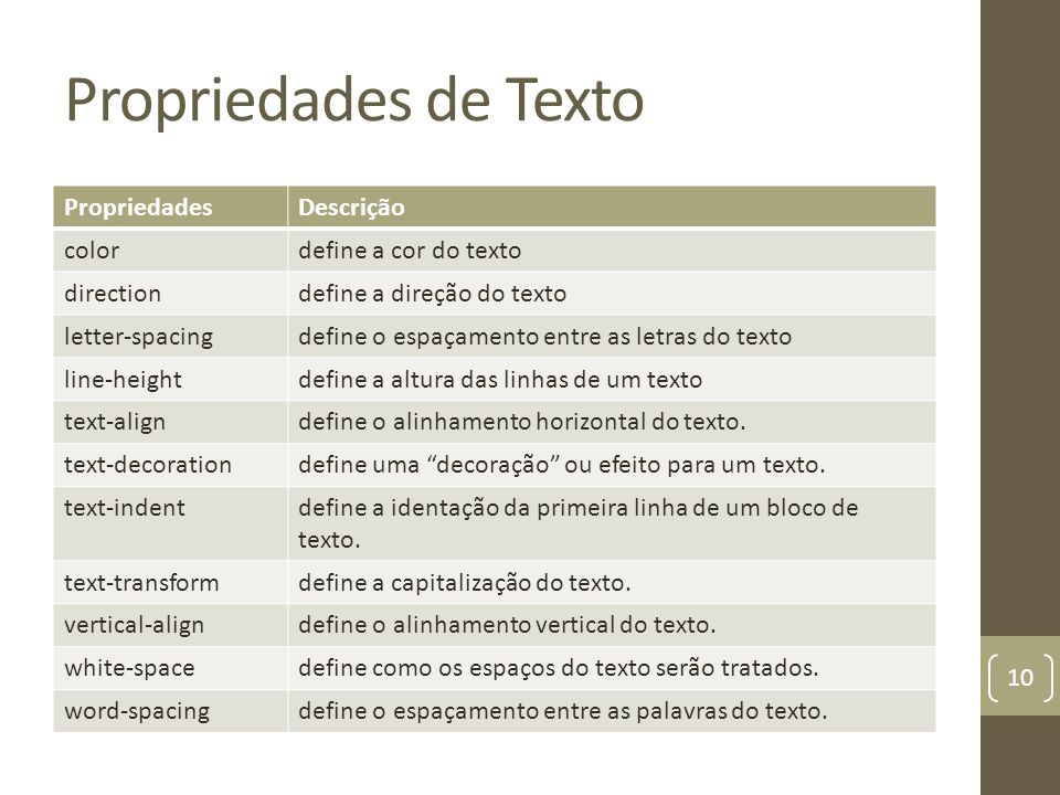 Propriedades de Texto PropriedadesDescrição colordefine a cor do texto directiondefine a direção do texto letter-spacingdefine o espaçamento entre as letras do texto line-heightdefine a altura das linhas de um texto text-aligndefine o alinhamento horizontal do texto.