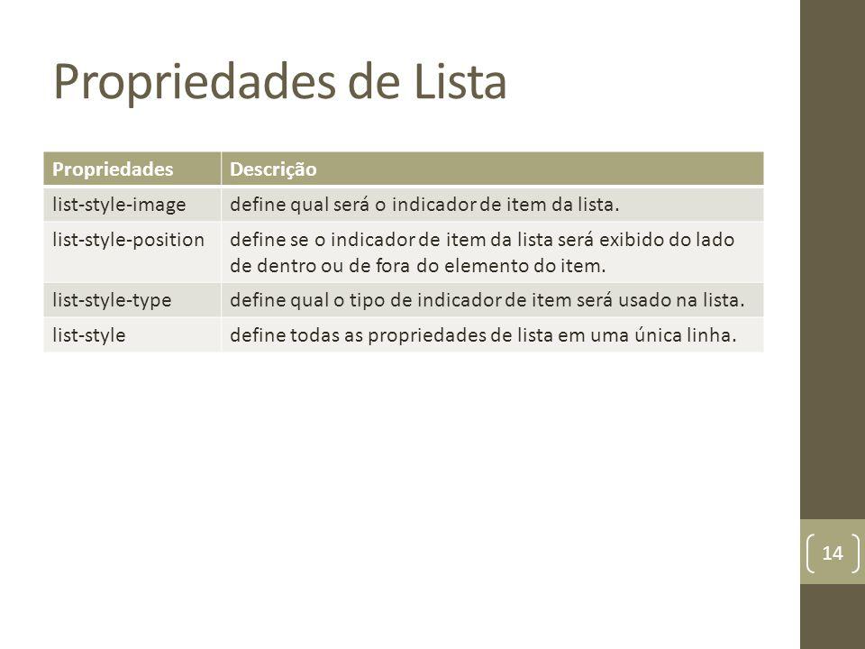 Propriedades de Lista PropriedadesDescrição list-style-imagedefine qual será o indicador de item da lista.