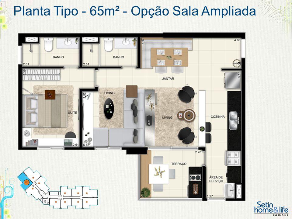 Planta Tipo - 65m² - Opção Sala Ampliada 10