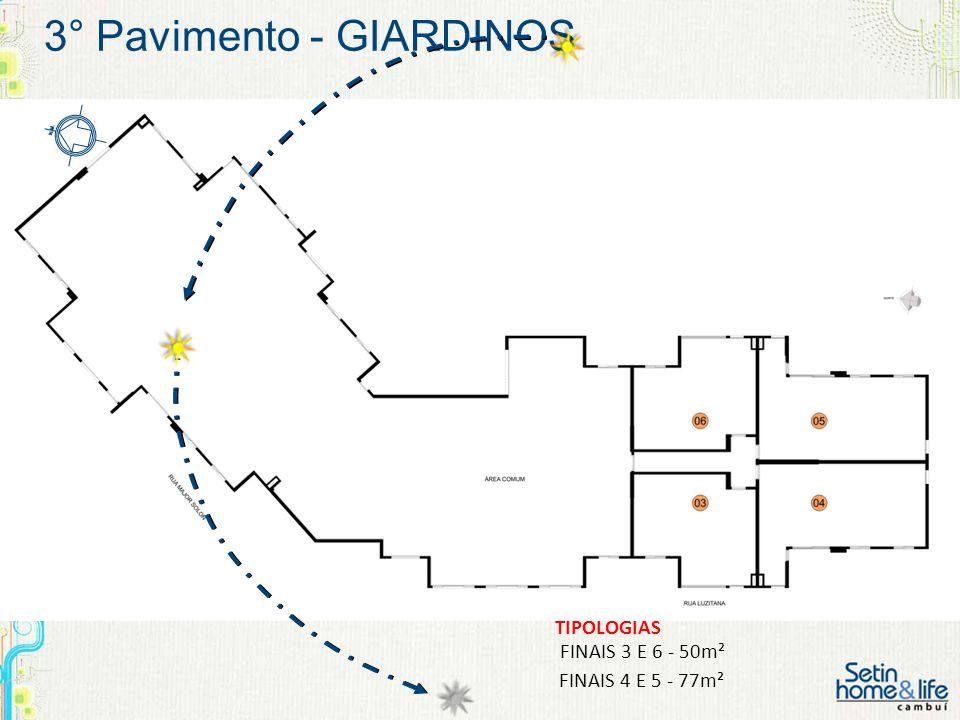 3° Pavimento - GIARDINOS FINAIS 3 E 6 - 50m² FINAIS 4 E 5 - 77m² TIPOLOGIAS