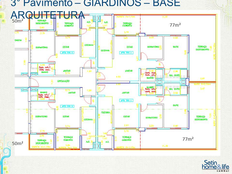 3° Pavimento – GIARDINOS – BASE ARQUITETURA 50m² 77m² 50m²