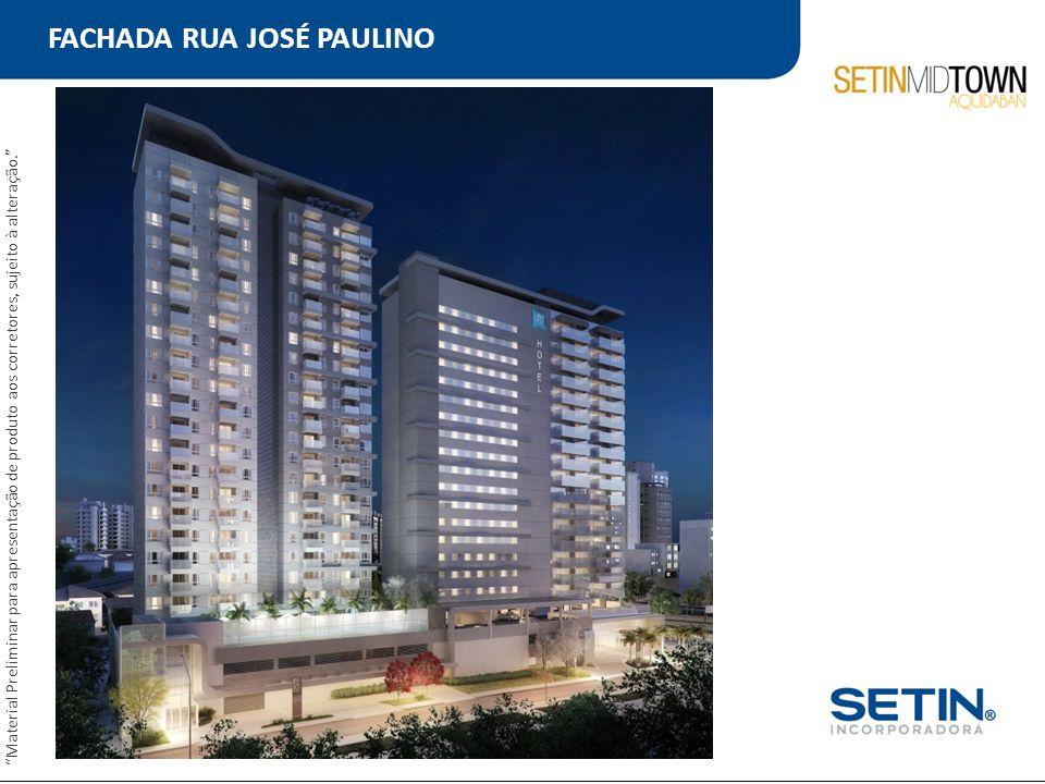 """FACHADA RUA JOSÉ PAULINO """"Material Preliminar para apresentação de produto aos corretores, sujeito à alteração."""""""