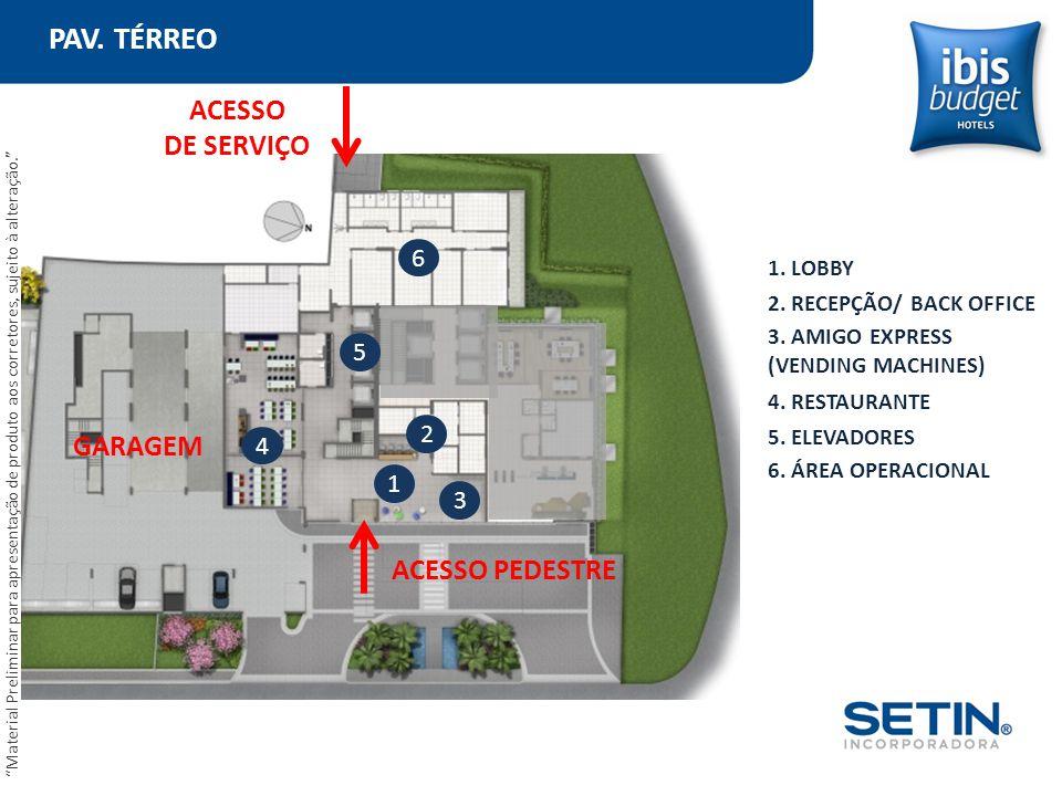 PAV. TÉRREO 1. LOBBY 1 2 3 4 6 ACESSO PEDESTRE ACESSO DE SERVIÇO GARAGEM 5 2. RECEPÇÃO/ BACK OFFICE 3. AMIGO EXPRESS (VENDING MACHINES) 4. RESTAURANTE