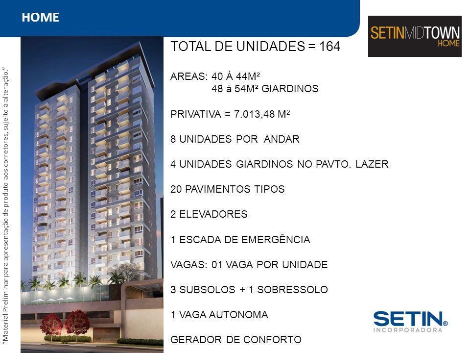 HOME TOTAL DE UNIDADES = 164 AREAS: 40 À 44M² 48 à 54M² GIARDINOS PRIVATIVA = 7.013,48 M 2 8 UNIDADES POR ANDAR 4 UNIDADES GIARDINOS NO PAVTO. LAZER 2