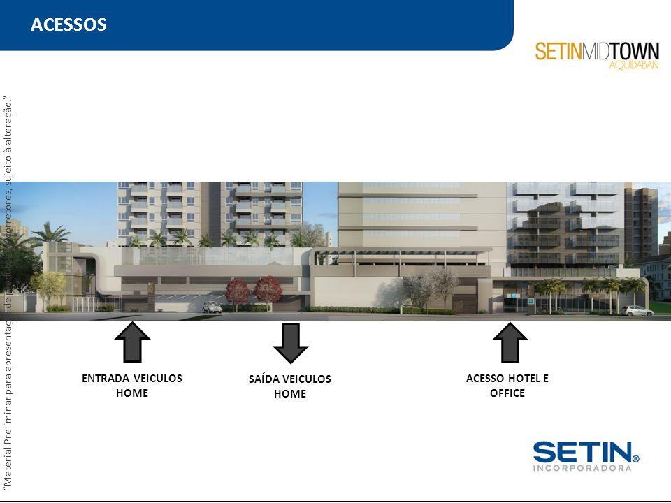 """ACESSOS ENTRADA VEICULOS HOME ACESSO HOTEL E OFFICE SAÍDA VEICULOS HOME """"Material Preliminar para apresentação de produto aos corretores, sujeito à al"""