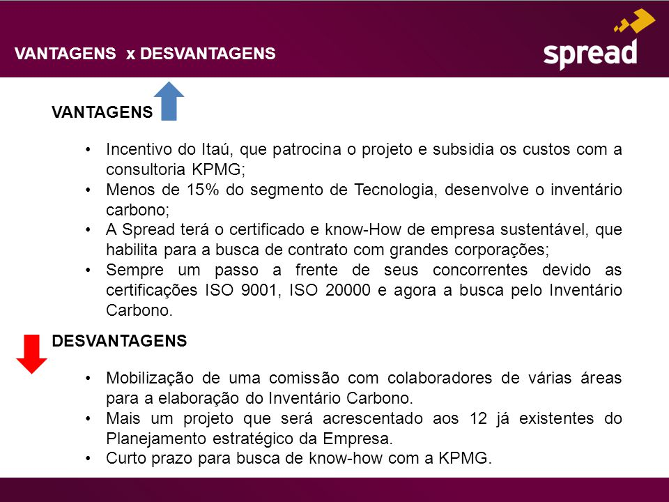 VANTAGENS x DESVANTAGENS VANTAGENS Incentivo do Itaú, que patrocina o projeto e subsidia os custos com a consultoria KPMG; Menos de 15% do segmento de Tecnologia, desenvolve o inventário carbono; A Spread terá o certificado e know-How de empresa sustentável, que habilita para a busca de contrato com grandes corporações; Sempre um passo a frente de seus concorrentes devido as certificações ISO 9001, ISO 20000 e agora a busca pelo Inventário Carbono.
