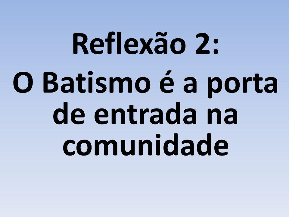 Reflexão 2: O Batismo é a porta de entrada na comunidade