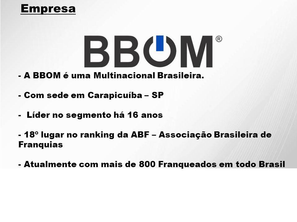 - A BBOM é uma Multinacional Brasileira. - Com sede em Carapicuíba – SP - Líder no segmento há 16 anos - 18º lugar no ranking da ABF – Associação Bras