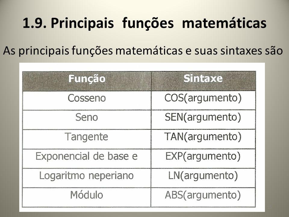 1.9. Principais funções matemáticas As principais funções matemáticas e suas sintaxes são 15