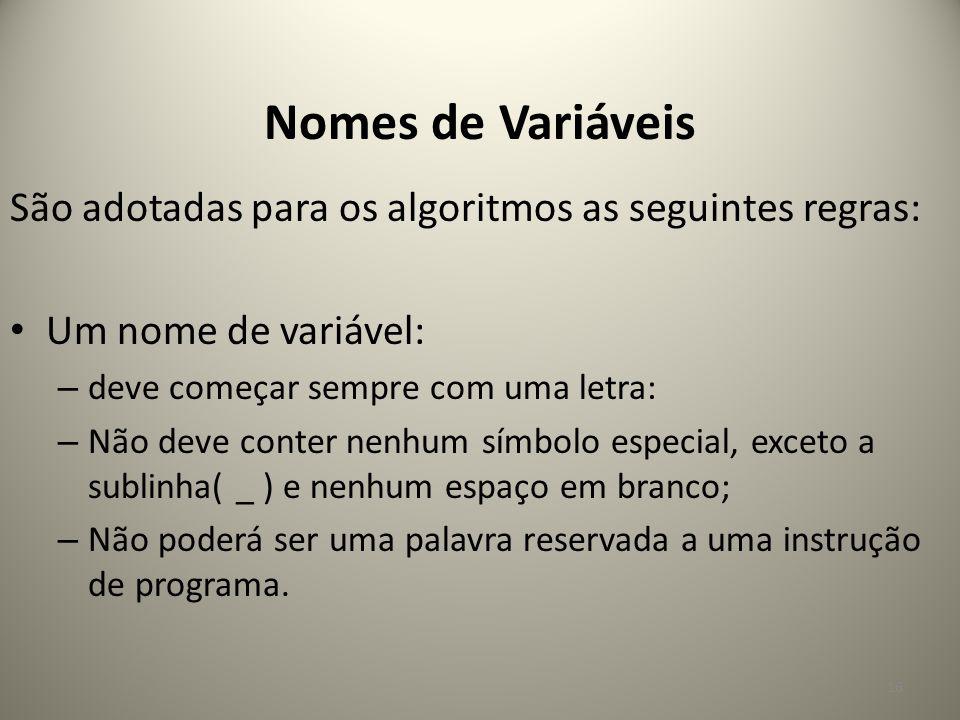 São adotadas para os algoritmos as seguintes regras: Um nome de variável: – deve começar sempre com uma letra: – Não deve conter nenhum símbolo especi