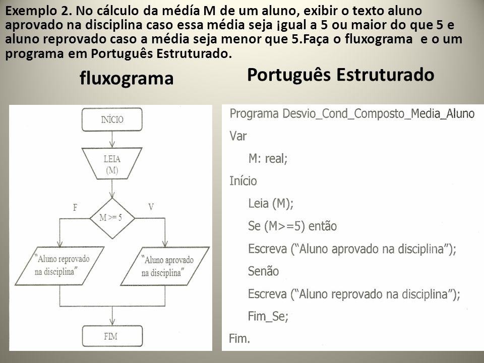 fluxograma Português Estruturado 31 Exemplo 2. No cálculo da médía M de um aluno, exibir o texto aluno aprovado na disciplina caso essa média seja ¡gu