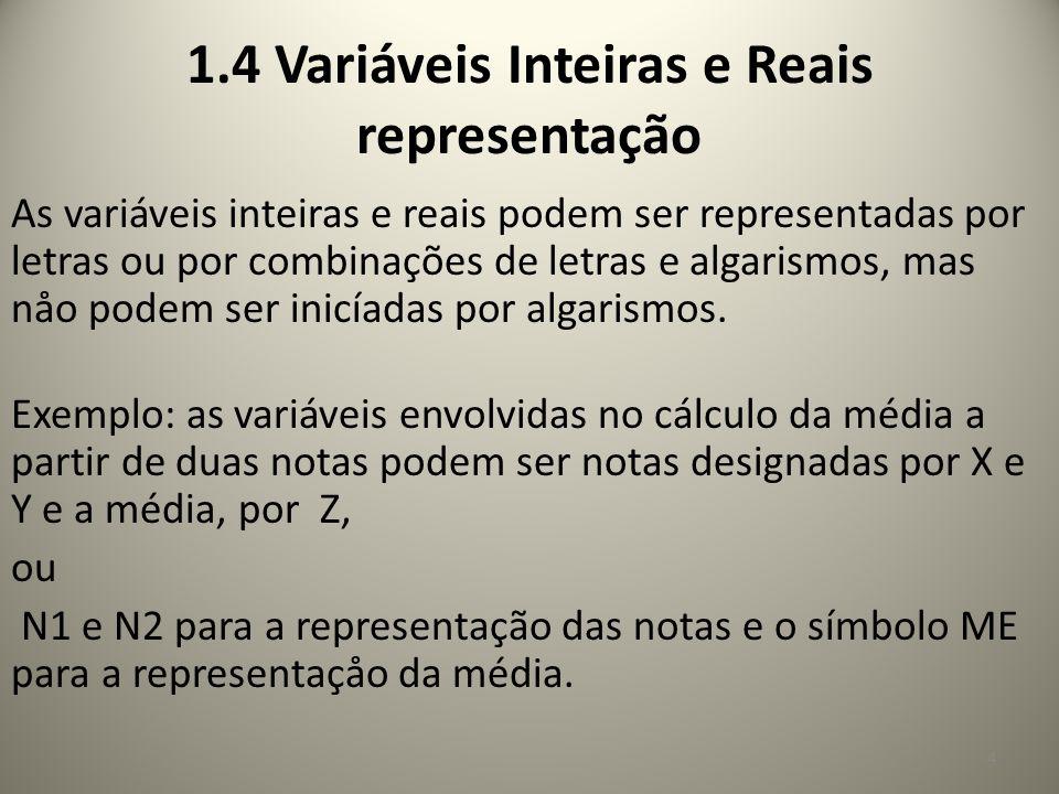 As variáveis inteiras e reais podem ser representadas por letras ou por combinações de letras e algarismos, mas nåo podem ser inicíadas por algarismos