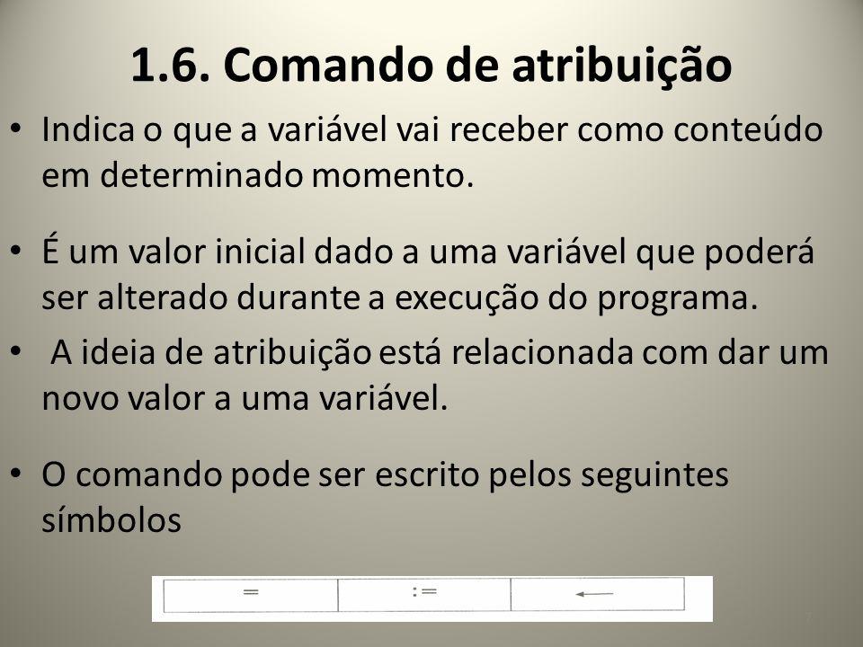 1.6. Comando de atribuição Indica o que a variável vai receber como conteúdo em determinado momento. É um valor inicial dado a uma variável que poderá