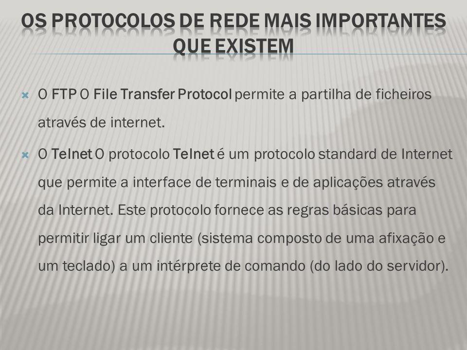  O FTP O File Transfer Protocol permite a partilha de ficheiros através de internet.