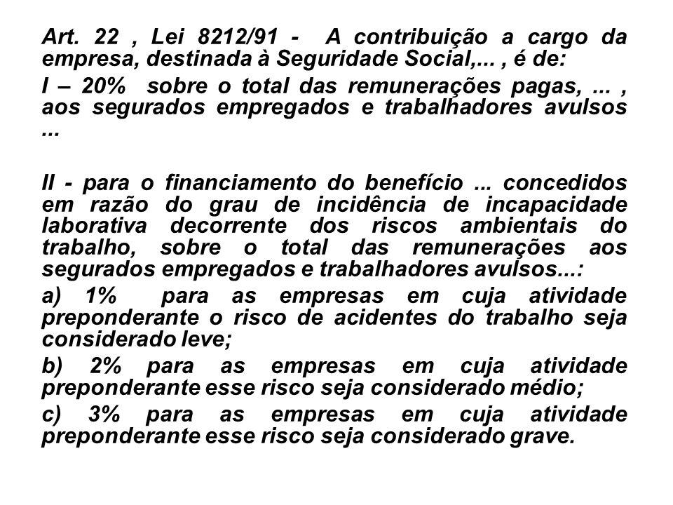 Art. 22, Lei 8212/91 - A contribuição a cargo da empresa, destinada à Seguridade Social,..., é de: I – 20% sobre o total das remunerações pagas,..., a