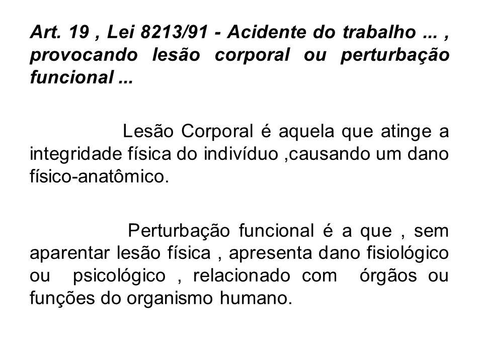 Art. 19, Lei 8213/91 - Acidente do trabalho..., provocando lesão corporal ou perturbação funcional... Lesão Corporal é aquela que atinge a integridade