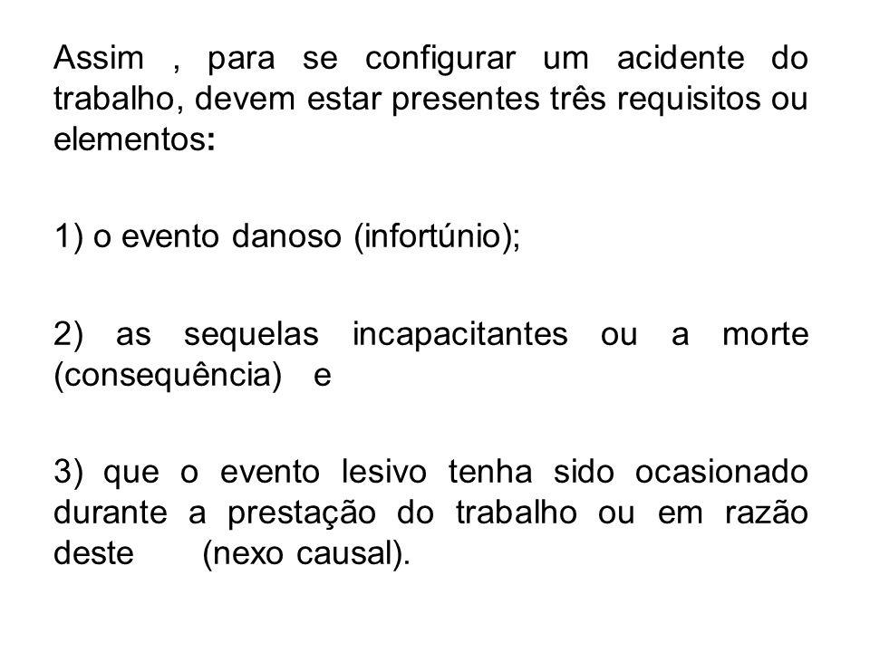 Assim, para se configurar um acidente do trabalho, devem estar presentes três requisitos ou elementos: 1) o evento danoso (infortúnio); 2) as sequelas