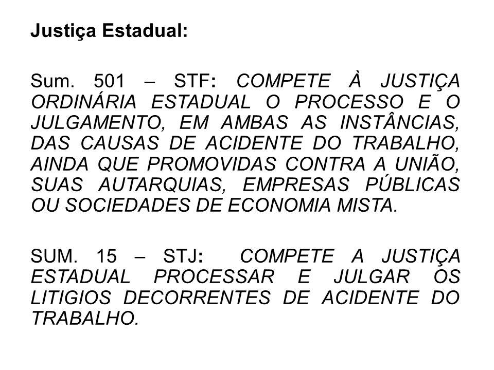 Justiça Estadual: Sum. 501 – STF: COMPETE À JUSTIÇA ORDINÁRIA ESTADUAL O PROCESSO E O JULGAMENTO, EM AMBAS AS INSTÂNCIAS, DAS CAUSAS DE ACIDENTE DO TR