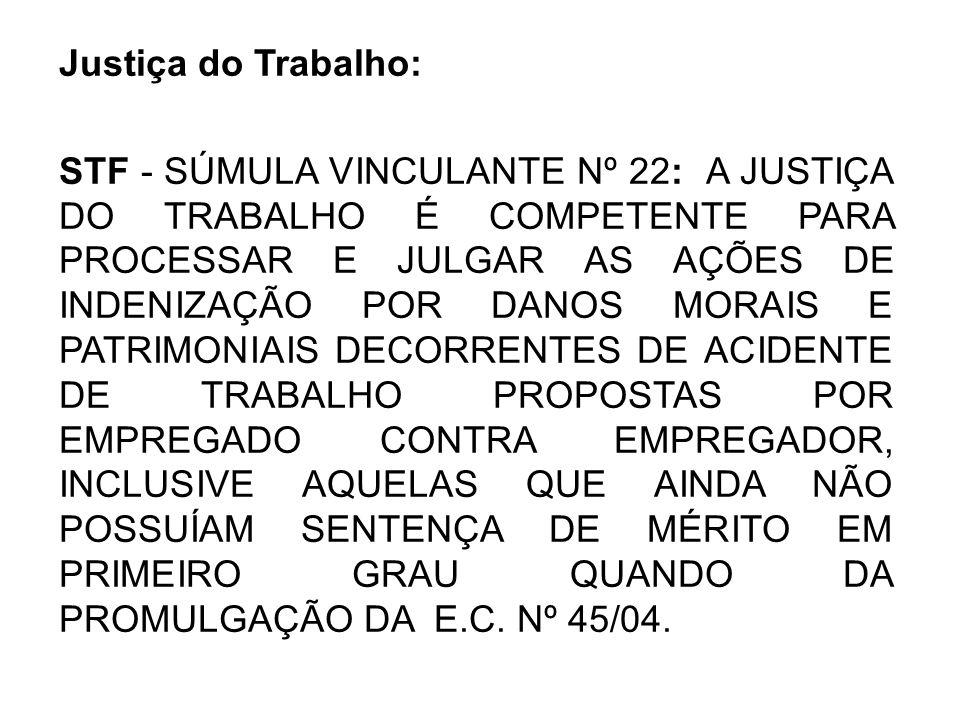 Justiça do Trabalho: STF - SÚMULA VINCULANTE Nº 22: A JUSTIÇA DO TRABALHO É COMPETENTE PARA PROCESSAR E JULGAR AS AÇÕES DE INDENIZAÇÃO POR DANOS MORAI