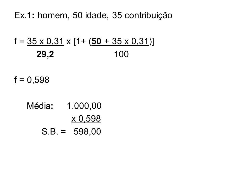 Ex.1: homem, 50 idade, 35 contribuição f = 35 x 0,31 x [1+ (50 + 35 x 0,31)] 29,2 100 f = 0,598 Média: 1.000,00 x 0,598 S.B. = 598,00
