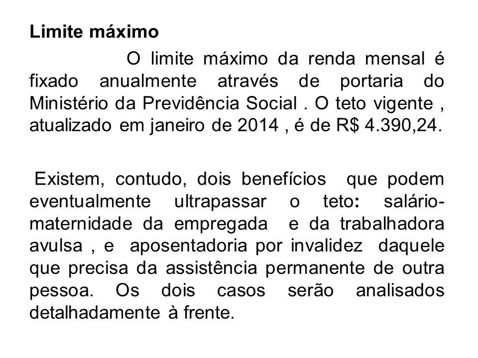 Limite máximo O limite máximo da renda mensal é fixado anualmente através de portaria do Ministério da Previdência Social. O teto vigente, atualizado
